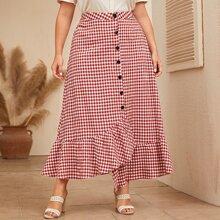 Plus Button Front Ruffle Hem Gingham Skirt