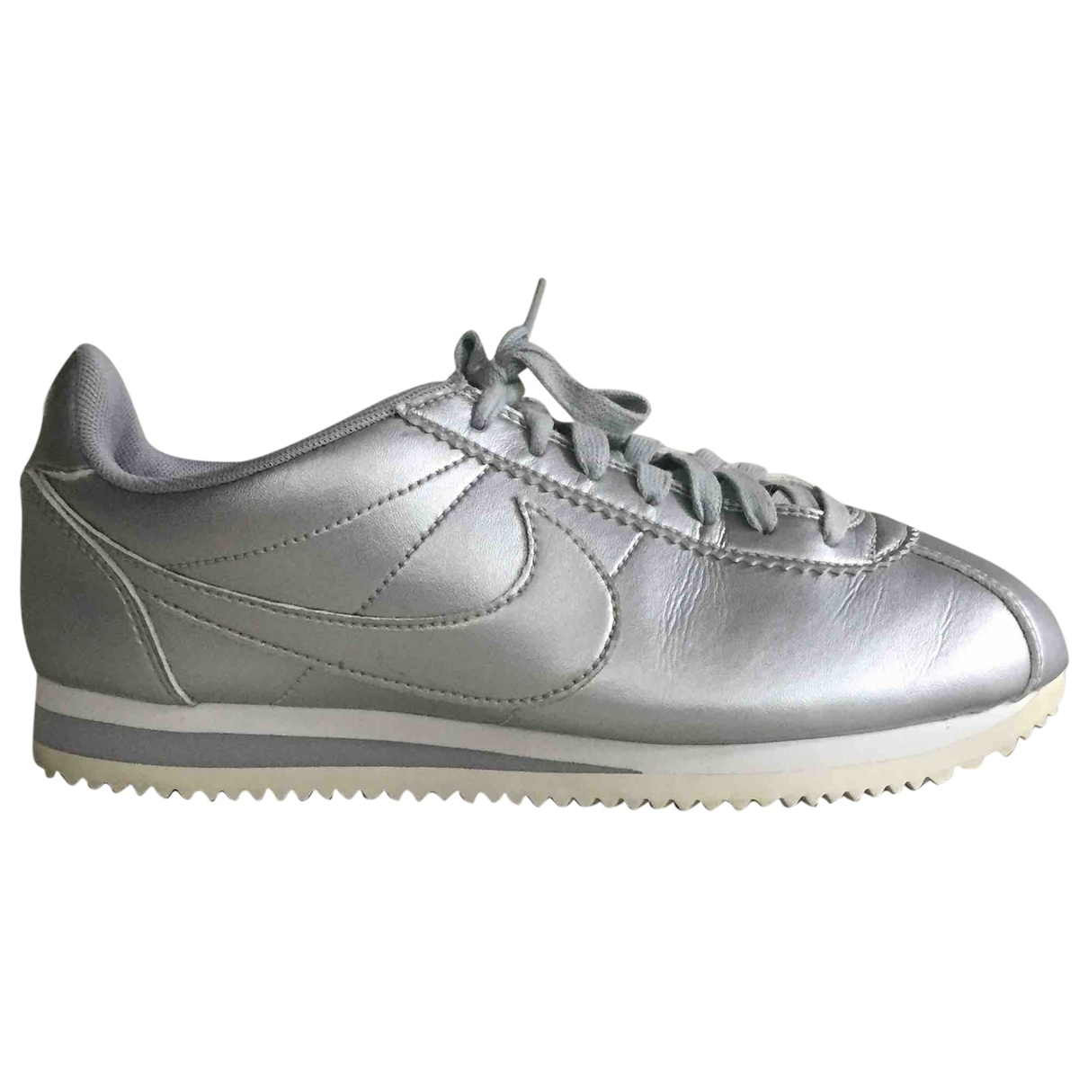 Nike Cortez Silver Leather Trainers for Women 38 EU