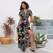 Floral Print Flutter Sleeve Tie Front Wrap Dress