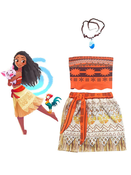 Milanoo Disney Moana Girls Adventure Outfit Animation Cosplay Costume 3 Piece Set Halloween