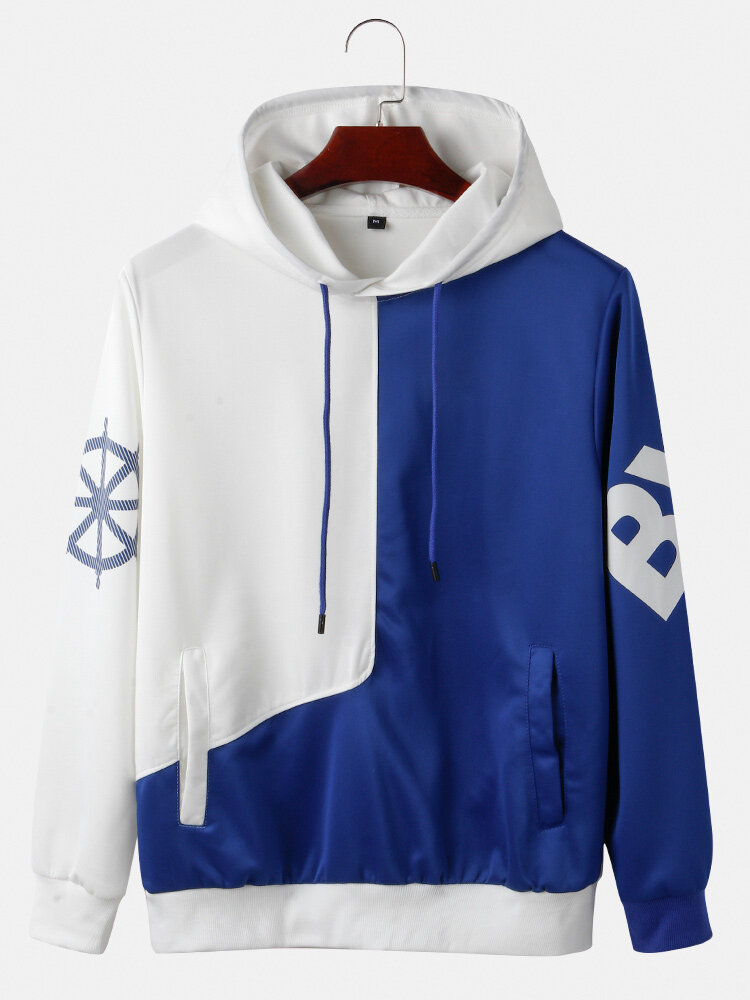 Mens Contrast Color Relaxed Fit Casual Muff Pocket Drawstring Pullover Hoodies With Tape Detail