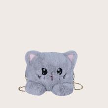 Girls Fluffy Cat Design Crossbody Bag