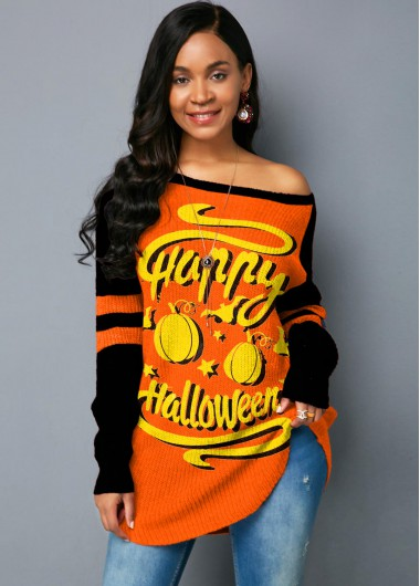 Trendy Long Sleeve Halloween Print Skew Neck Sweater - L