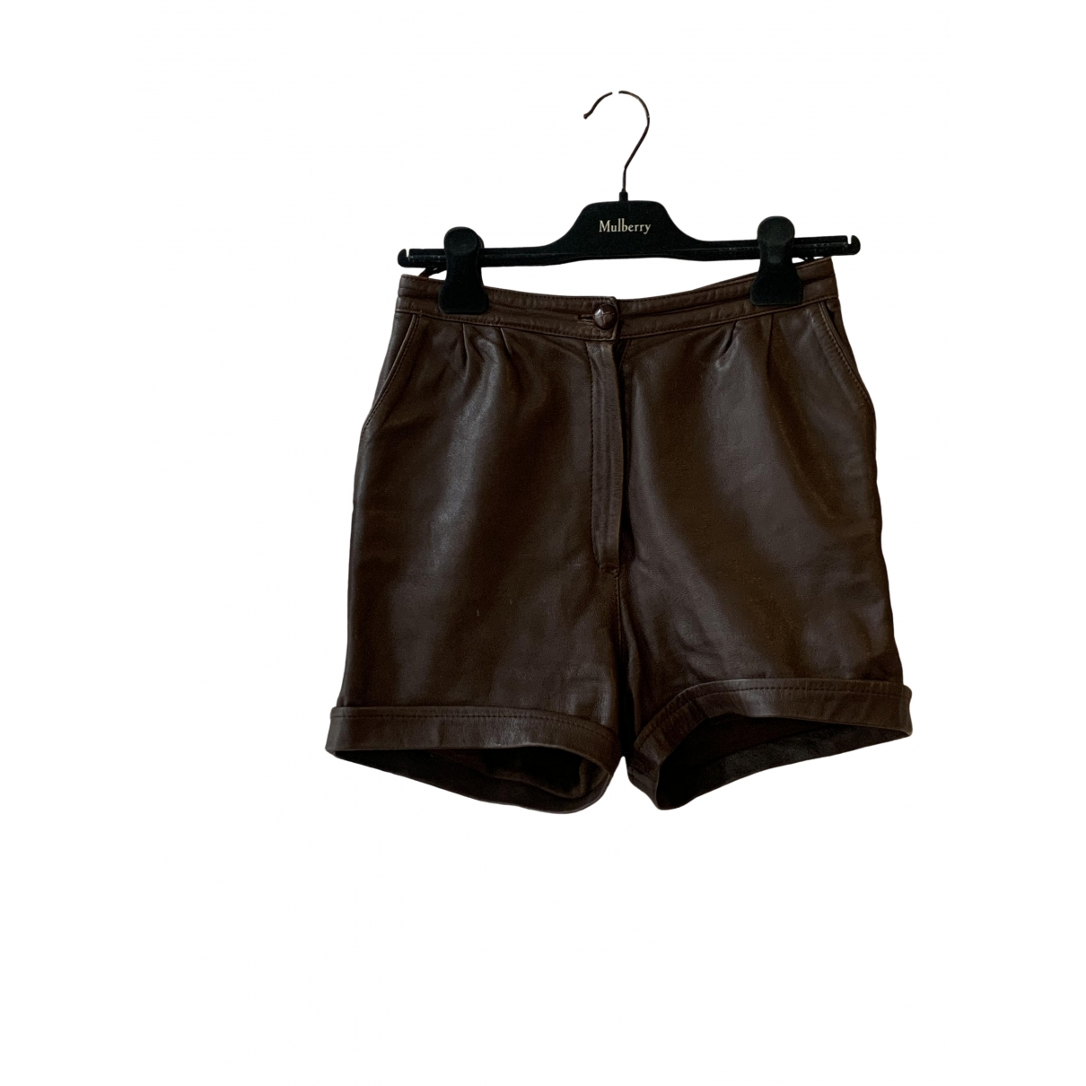 Non Signé / Unsigned \N Brown Leather Shorts for Women 38 IT