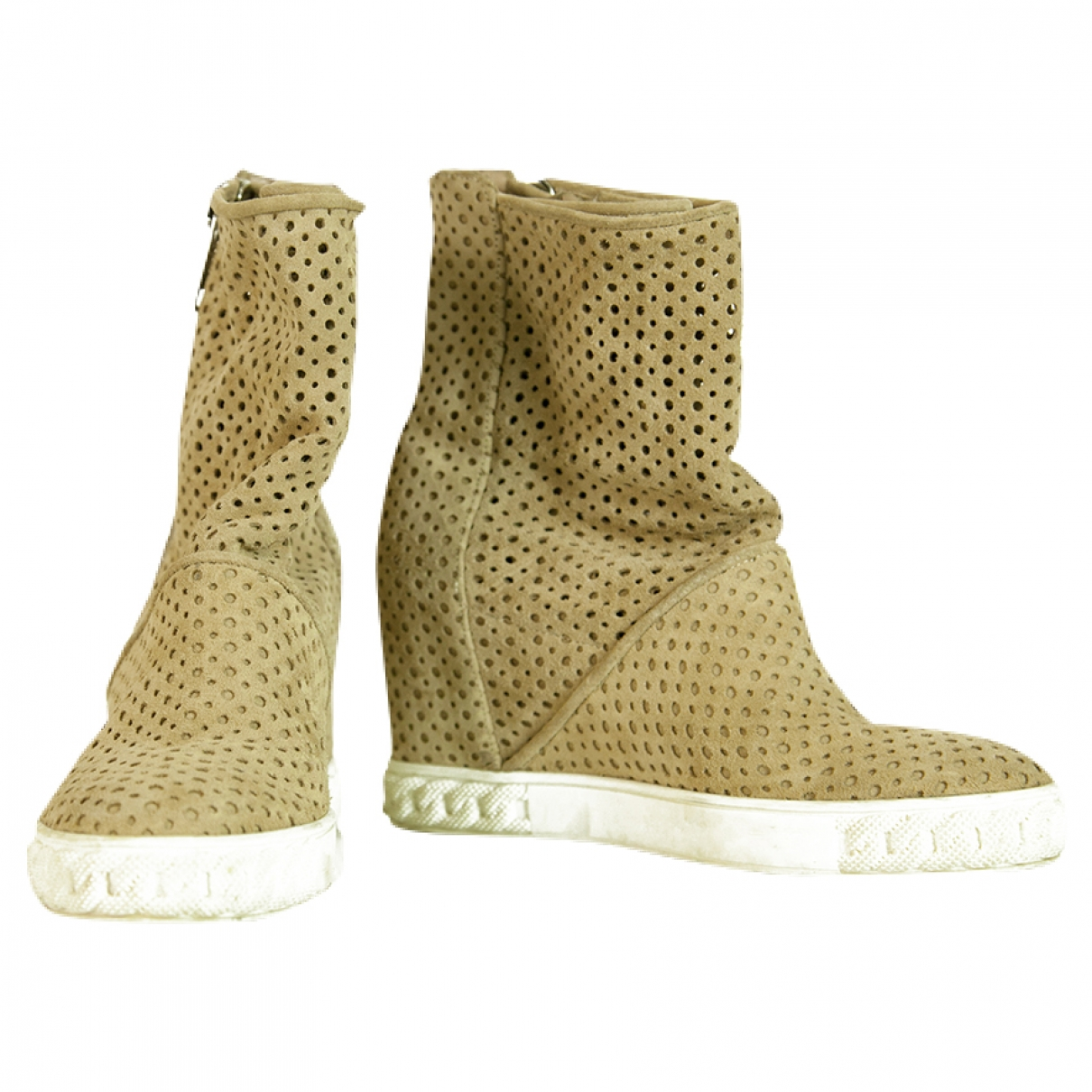 Casadei \N Beige Suede Ankle boots for Women 37 IT