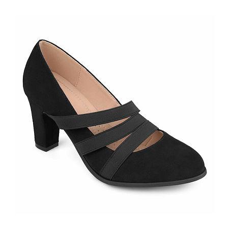 Journee Collection Womens Loren Pumps Stacked Heel, 7 1/2 Medium, Black