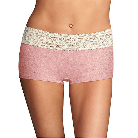 Maidenform Dream Cotton Knit Boyshort Panty 40859, 7 , Pink