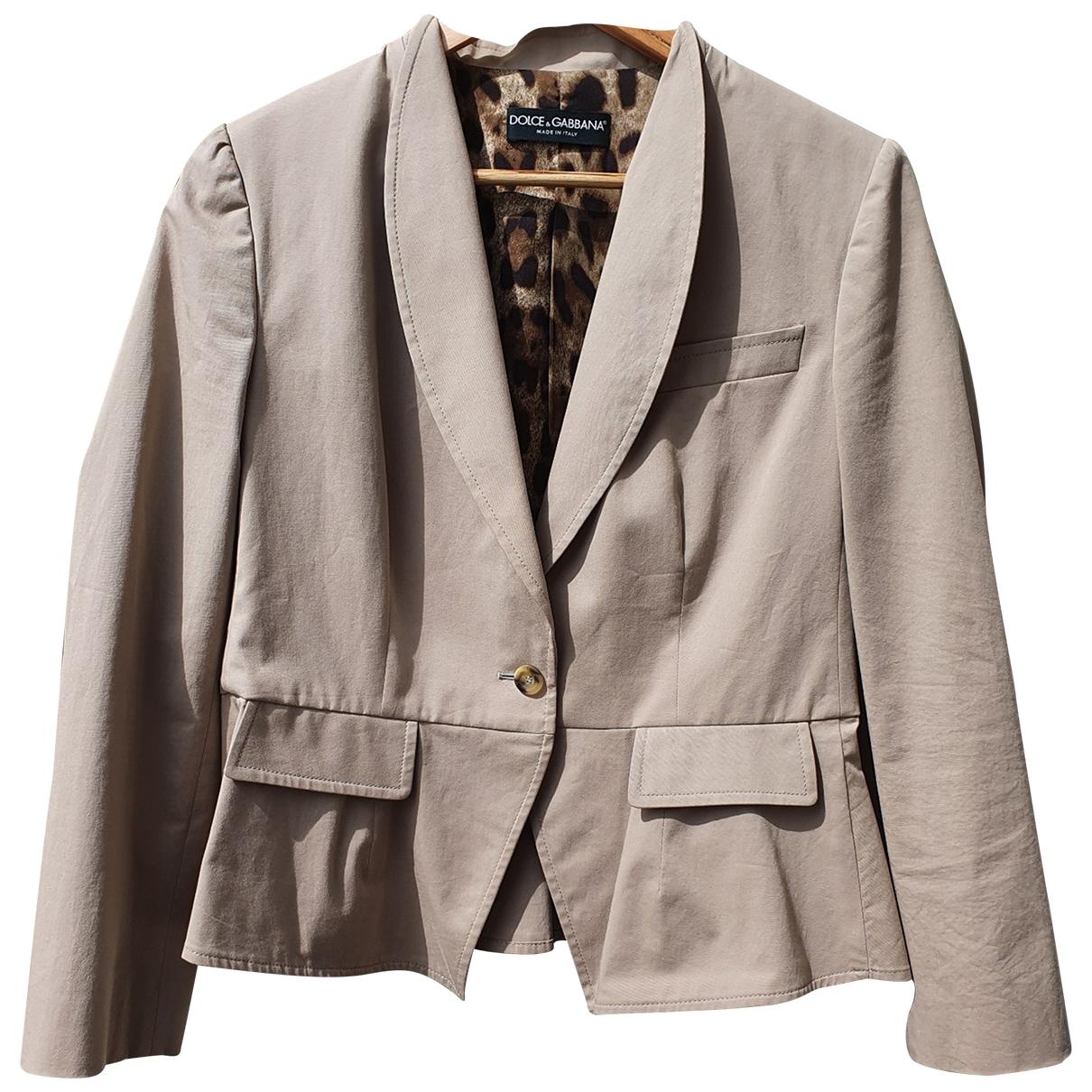 Dolce & Gabbana \N Beige Cotton jacket for Women 46 IT