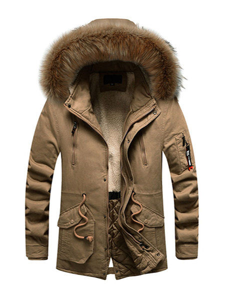 Milanoo Men\'s Parka Outdoor Hooded Coat With Pockets And Faux Fur For Winter