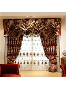 Luxury Thick Chenille Blackout Curtains Burgundy Embroidery Living Room Bedroom Curtains Made to Measure No Pilling No Fading No off-lining