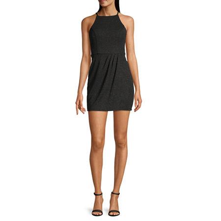 Speechless-Juniors Sleeveless Wrap Dress, 11 , Black