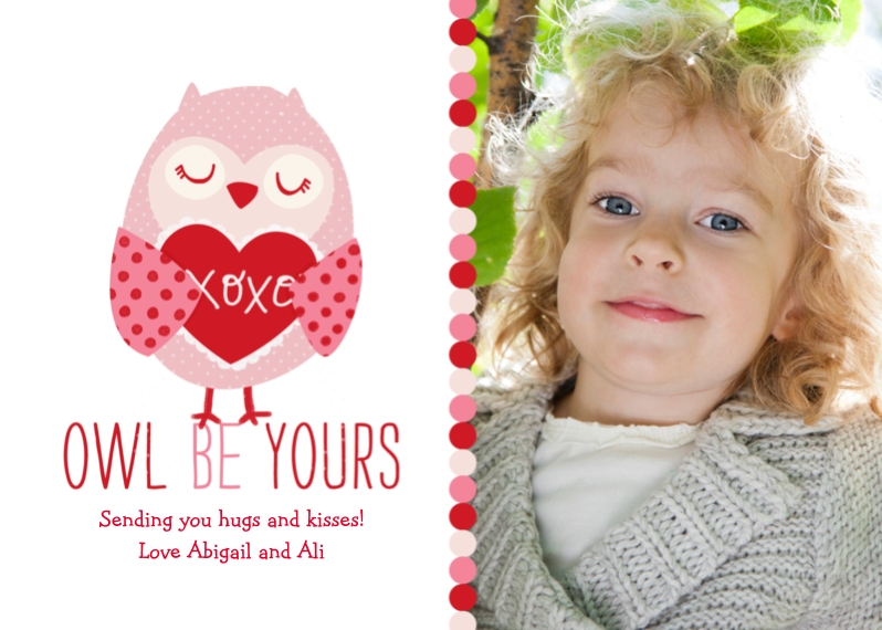 Valentine's Cards Flat Glossy Photo Paper Cards with Envelopes, 5x7, Card & Stationery -Owl Be Yours