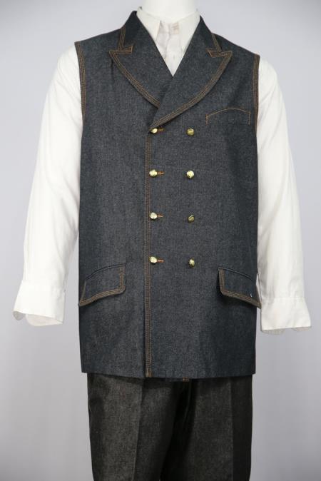 Mens Button Fastener 2pc Vest Double Breasted Suit Black