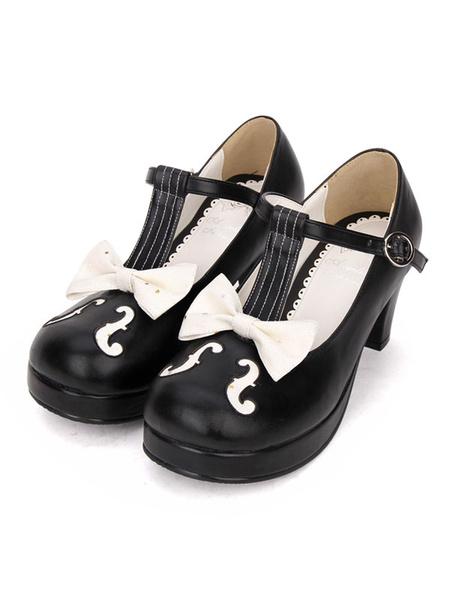 Milanoo Sweet Lolita Pumps Bow Two Tone T Strap Chunky High Heel Lolita Footwear