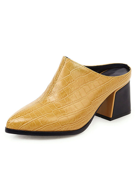 Milanoo Womens Mules Croco Print Pointed Toe Yellow Heel Plus Size Block Heel Shoes