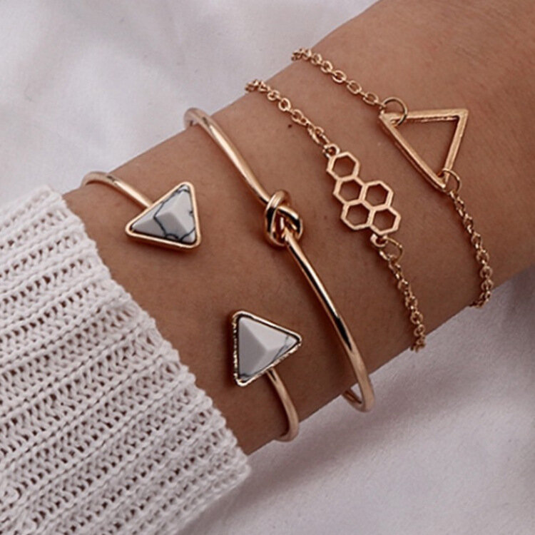 Vintage Geometric Hollow Triangle Honeycomb Pendant Bracelet Metal Triangle Marble Opening Multi-layer Bracelet