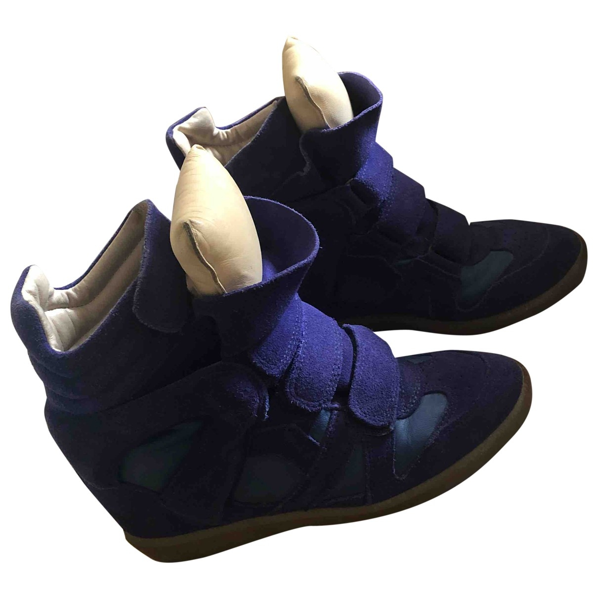 Isabel Marant Beckett Blue Leather Trainers for Women 37 EU