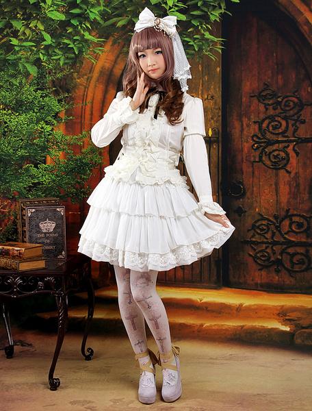 Milanoo Sweet White Ruffles Chiffon Lolita Skirt