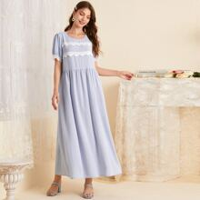 Contrast Lace Babydoll Dress
