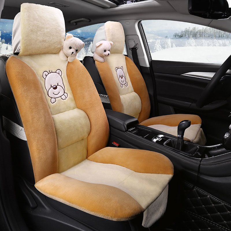 5 Seats Winter Plush Warm Cartoon Universal Fit Seat Cover Don't Fade Don't Lose Hair Easy To Install