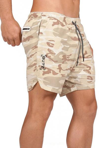 Milanoo Camo Gym Shorts Men Workout Running Shorts 2 In 1 Lightweight Yoga Training Sport Short Pants