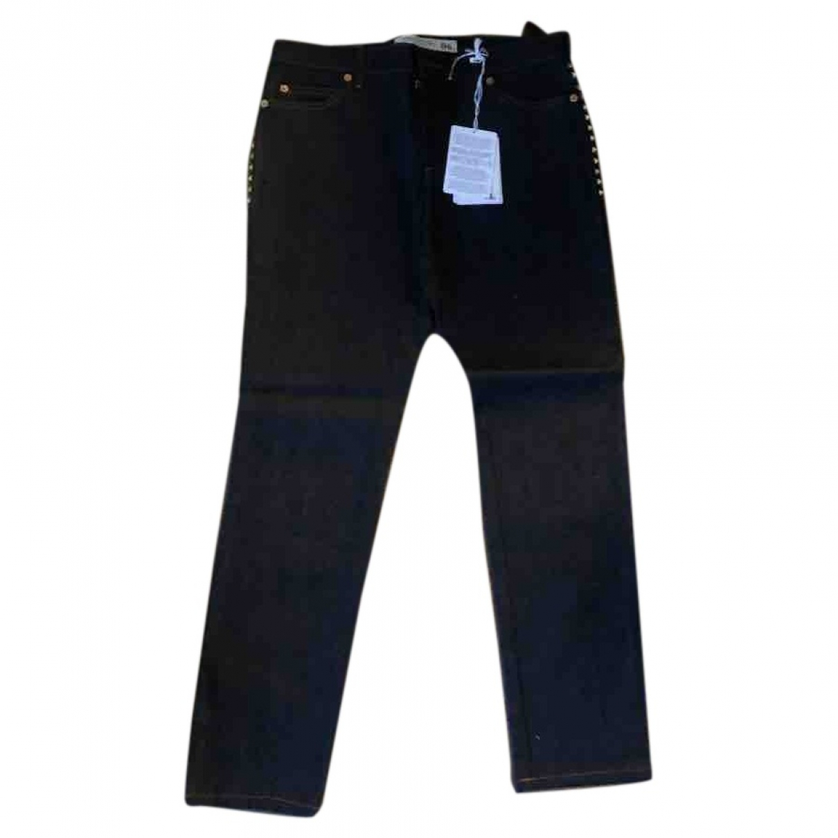 Valentino Garavani \N Navy Cotton Trousers for Women 38 FR