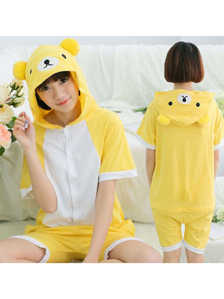 Milanoo Kigurumi Pajamas Bear Onesie Yellow Short Summer Animal Sleepwear For Adults