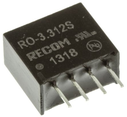 Recom RO 1W Isolated DC-DC Converter Through Hole, Voltage in 2.97 → 3.63 V dc, Voltage out 12V dc