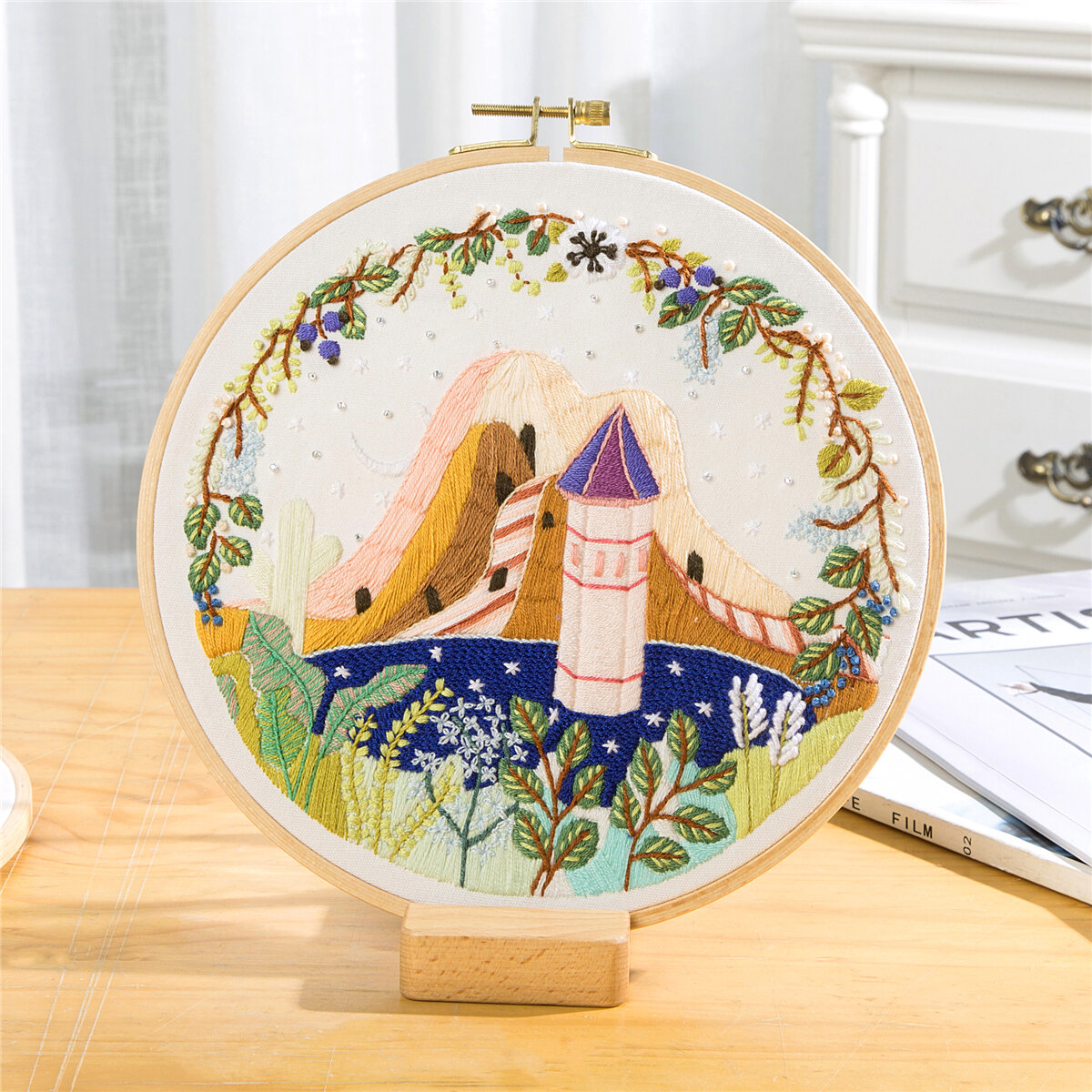 DIY Landscape Flower Embroidery Kit With Hoop Needlework Scenery Cross Stitch Handcraft Gift Art Home Decor