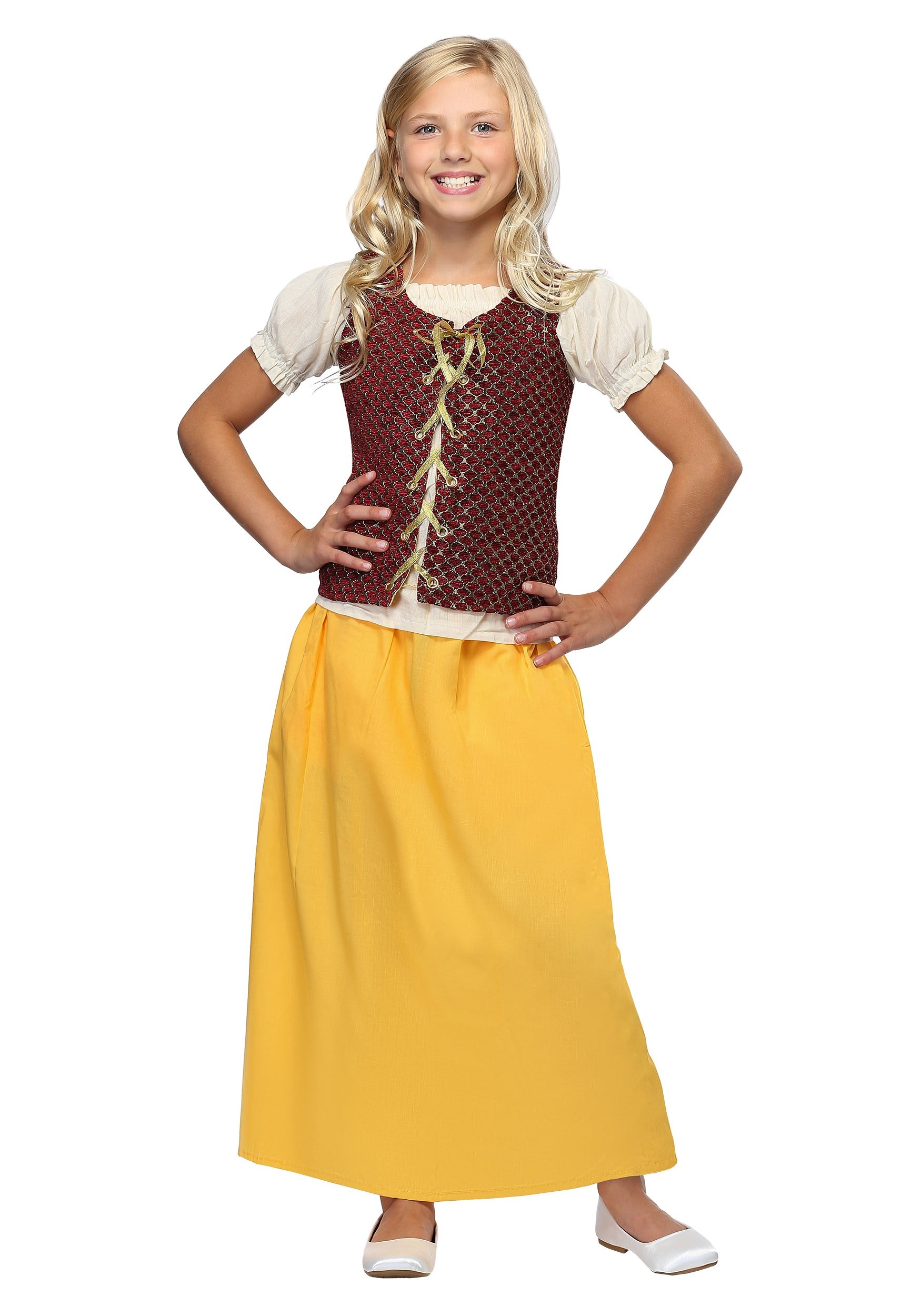 Red Peasant Dress Costume For Kids