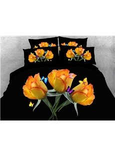 Three Yellow Roses And Colorful Butterflies 3D Printed 4-Piece Polyester Bedding Sets/Duvet Covers