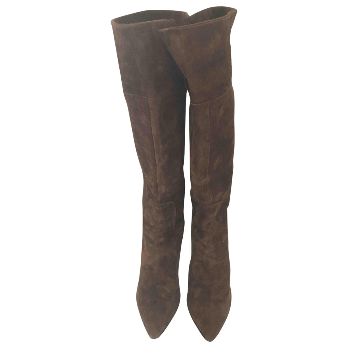 Guess \N Brown Leather Boots for Women 39 IT
