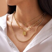 1pc Lock & Letter Charm Layered Chain Necklace