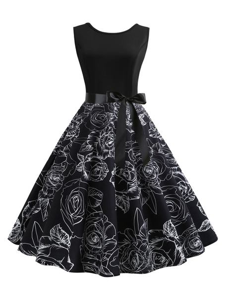 Milanoo Black Vintage Dress 1950s Sleeveless Round Neck Bows Floral rockabilly dresses Swing Retro Dress