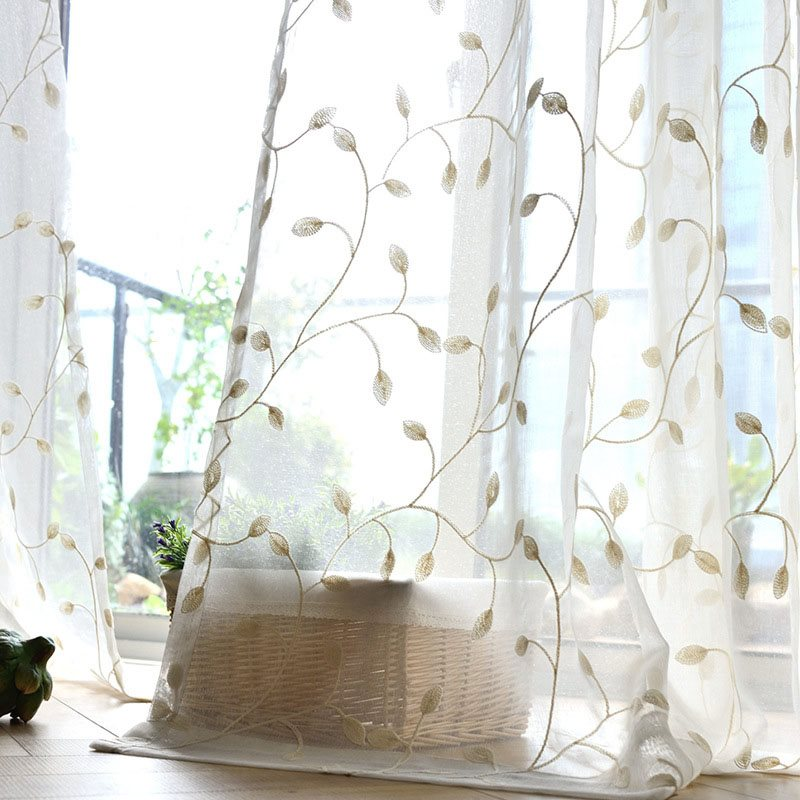 American Village Classy Polyester Embroidery Living Room Custom Decorative Sheer Curtains