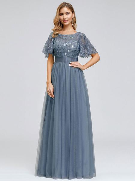 Milanoo Plus Size Prom Dress A Line Jewel Neck Chiffon Short Sleeves Floor Length Lace Party Dresses