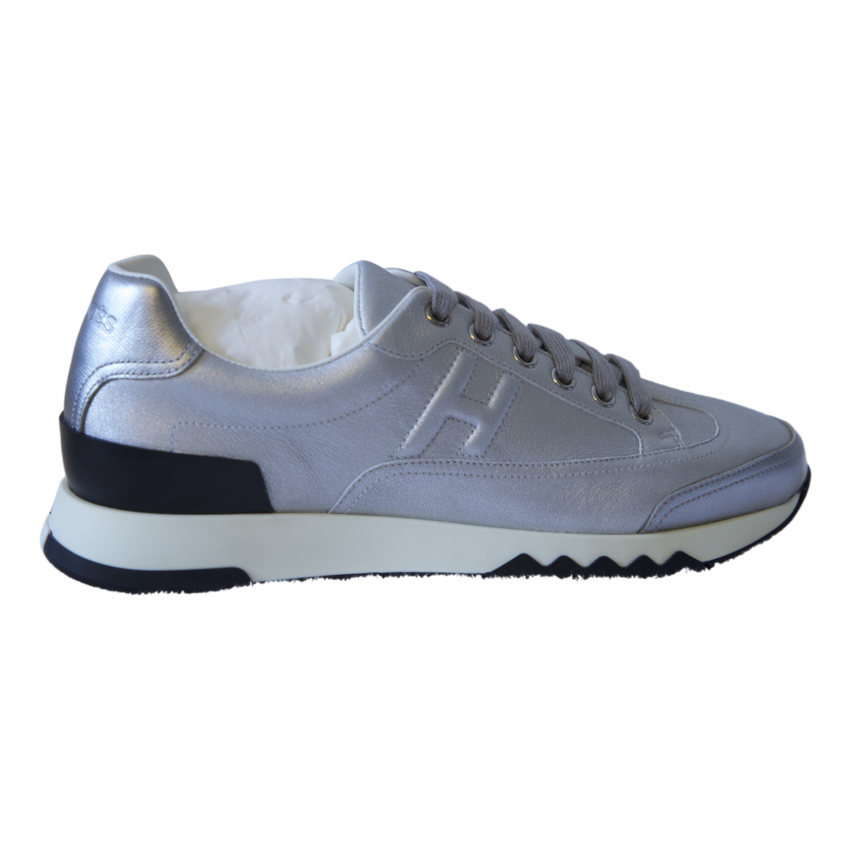 Hermès Trail Silver Leather Trainers for Women 37 EU