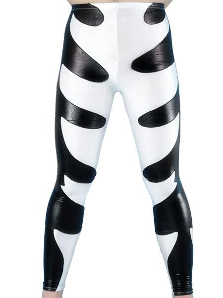 Milanoo Black And White Two-Tone Shiny Metallic Skinny Pants