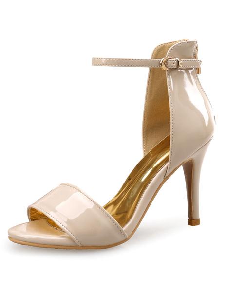 Milanoo Black Dress Sandals High Heel White Ankle Strap Stiletto Heel Sandal Shoes For Women