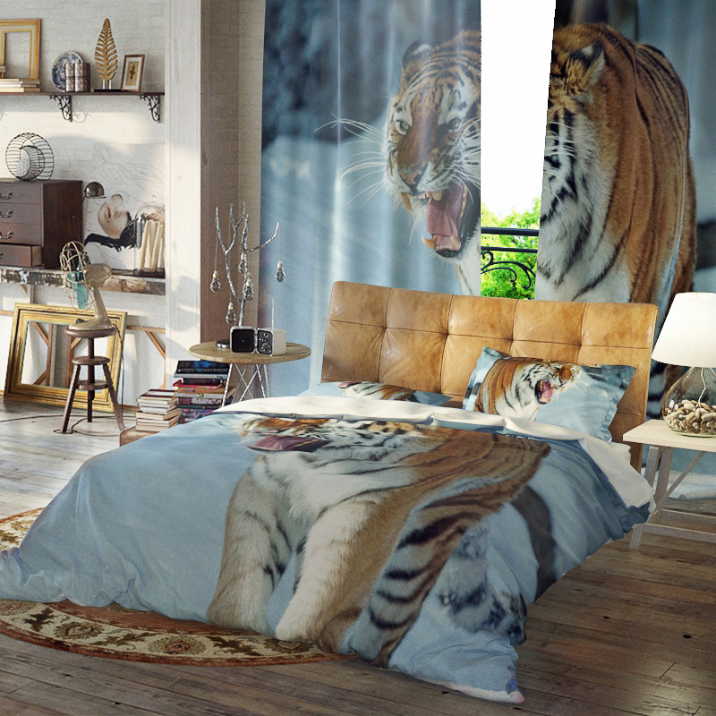 Tiger Three-Piece Set Reactive Printing Duvet Cover Set Polyester Bedding Sets Ultra-soft Microfiber No-fading Twin Full Queen King
