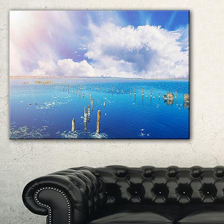 Designart Blue Salt Lake Under Clouds Large Seascape Art Canvas Print, One Size , Blue
