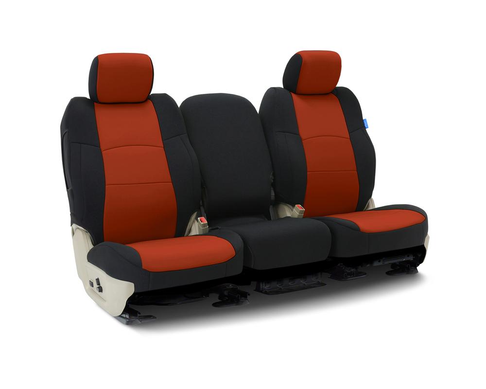 Coverking CSCF89JP9518 Custom Seat Covers 1 Row Neoprene Inferno Orange   Black Sides Front Jeep Wrangler 2018-2021