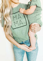 Mama O-Neck T-Shirt Tee - Light Green