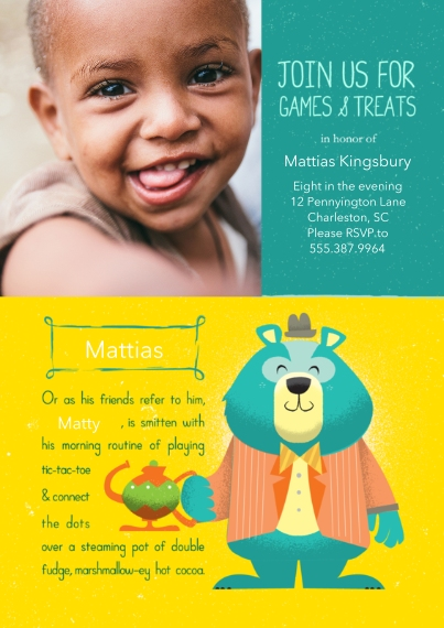 Kids Birthday Party Invites 5x7 Cards, Premium Cardstock 120lb with Rounded Corners, Card & Stationery -Animal Personality Birthday Bear