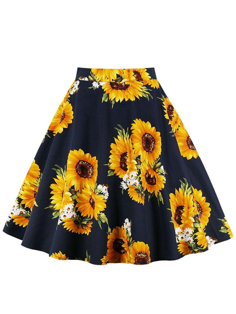 Ericdress A-Line Floral Print Women's Skirt