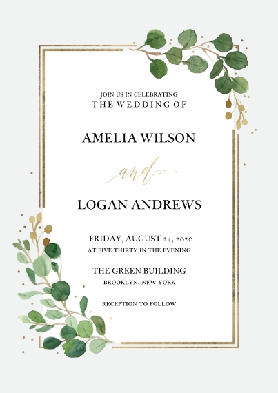 Wedding Invitations 5x7 Cards, Premium Cardstock 120lb with Rounded Corners, Card & Stationery -Wedding Invitation Eucalyptus Border by Tumbalina