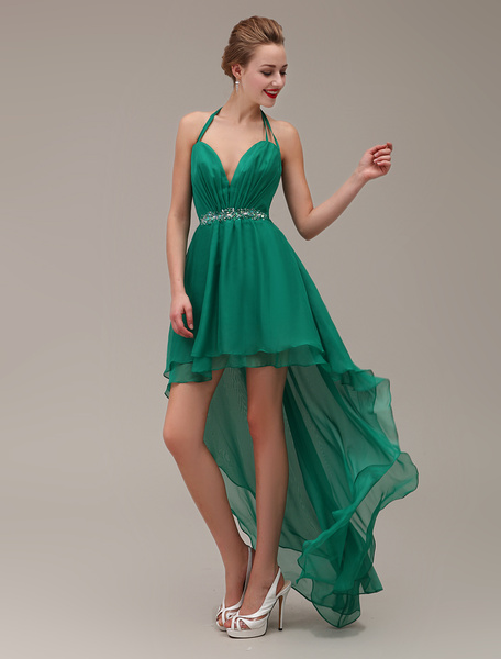 Milanoo Halter Deep-Sweetheart Neck Chiffon High-Low Design Two-layered Prom Dress With Beading and Rhinestone