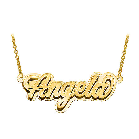 Personalized Diamond-Cut 3D Name Necklace, One Size , Yellow