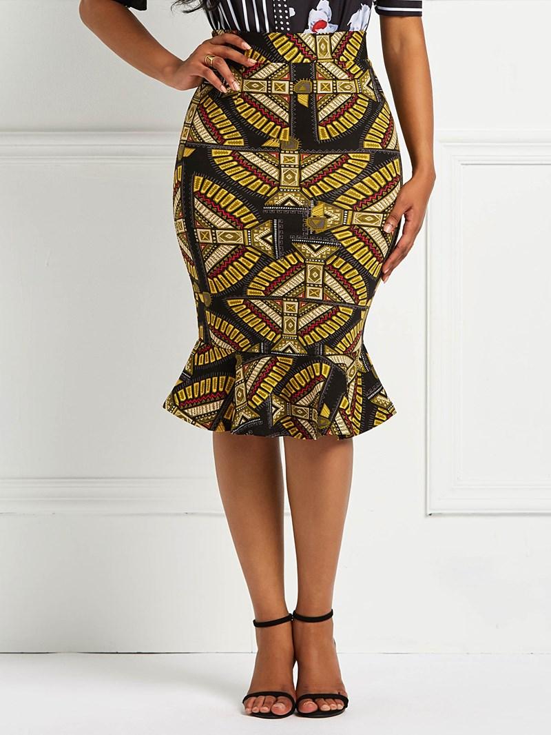 Ericdress Ruffles Geometric Print Women's Skirt