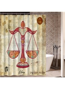 Exotic Libra Symbol Print 3D Bathroom Shower Curtain